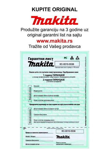 MAKITA GARANTNI LIST